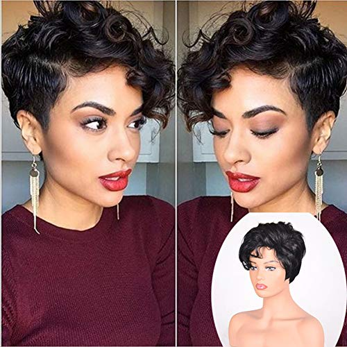 Women's Black Short Curly Wig, Synthetic Wig for