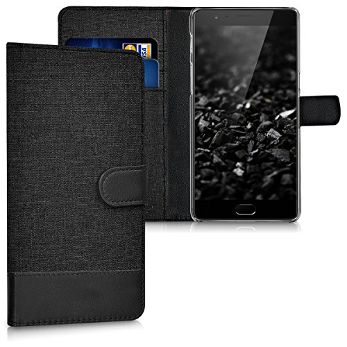 kwmobile Wallet Case for OnePlus 3 / 3T - Fabric and PU Leather Flip Cover with Card Slots and Stand - Anthracite/Black