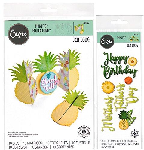 Pineapple Thinlit Bundle - Pineapple Fold-A-Long Card Die and Happy Pineapple Phrases Dies - 2 Items - Die Bundle