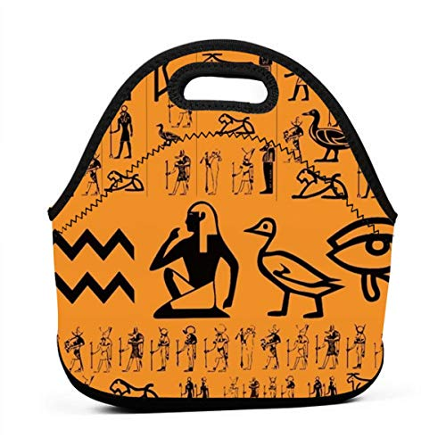 AGRBLUEN Office Workers Students Insulated Ancient Egypt Clipart Orange Lunch Box Package Neoprene Lunch Bag Practical Food Storage Bag Thermal Bento Bag for ()
