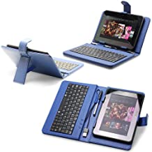 Fosmon Faux Leather Carrying Case with Built-In USB Keyboard & Stylus for Samsung Galaxy Tab 2 7.0 (Includes USB to 30-Pin OTG Adapter) - Blue