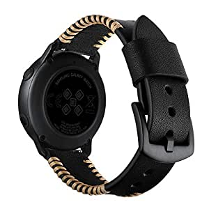 Handmade Leather Straps Compatible for Samsung Galaxy Watch Active Watchband Wristband Casual Band (Black)