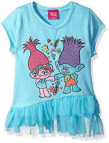 Little Signed - Dreamworks Girls' Little Trolls Girly Graphic Tee, Blue Radiance, 6X
