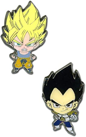 Dragon Ball Z Super Saiyan Goku y Vegeta Set Mini Pin