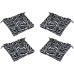 "Set of 4 - Indoor / Outdoor Black & White Zebra Print Universal Tufted Seat Cushions with Ties for Dining Patio Chairs - Choose Size (18"" x 18"")"