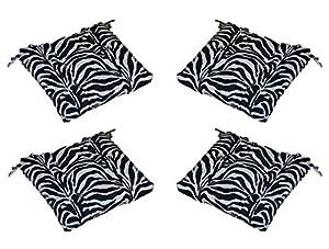 amazon com set of 4 indoor outdoor black white zebra print