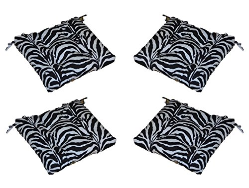 "Set of 4 - Indoor / Outdoor Black & White Zebra Print Universal Tufted Seat Cushions with Ties for Dining Patio Chairs - Choose Size (18"" x 18"") -  Resort Spa Home Decor"