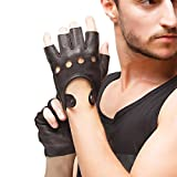 Men Deerskin Fingerless Gloves - Nappaglo Half Finger Leather Driving Motorcycle