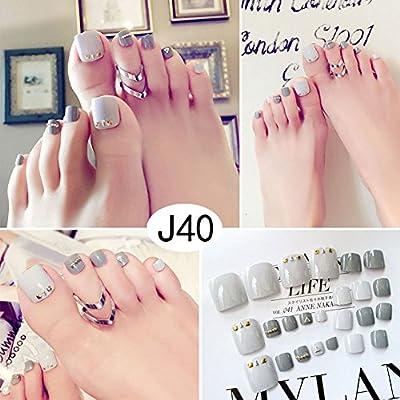 ZXLIFE Uñas Decorativas Uñas Postizas 24 Uñas Uñas Parche Corto Moda Linda Fake Nailfinds Wear Nail, 2