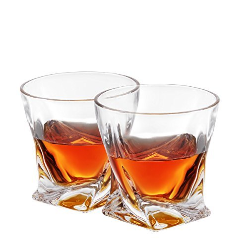 Twist Whiskey Glasses, Old Fashioned Glasses By Mivim 300mL/10.25oz- Set of 2. Lead-Free Crystal Clarity Fits Large Ice Cube, Unique, Elegant, Dishwasher Safe.Perfect as a Gift. (Type1-300ml 2packs)
