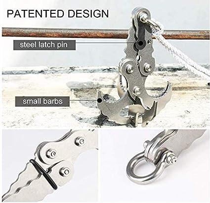 JohnJohnsen Schwerkrafthaken aus rostfreiem Stahl Survival Folding Grappling Hook Climbing Claw Carabiner F/ür Aktivit/äten im Freien