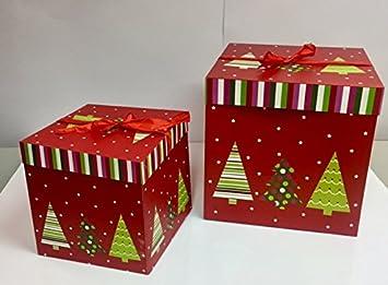 dalbags - Lote de unidades 2 cajas regalo Navidad completo de cordones 2 Color Con Fondo Rojo y varios diseños Tamaño 15 x 15 x 15 cm: Amazon.es: Hogar