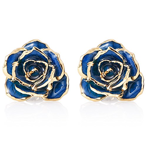 ZJchao Women Flower Stud Earrings Dipped 24K Gold Earring Pins Birthday Gift for Her (blue)