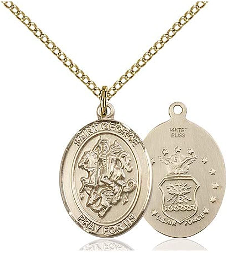 DiamondJewelryNY 14kt Gold Filled St George//Air Force Pendant