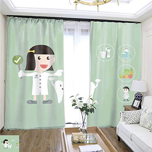 (Cartoon Curtain Series Dental Health Care Dentist and Tooth are Present for Makes Healthy Teeth W72 x L78 Darkened Insulated Living Room Curtains Highprecision Curtains for bedrooms Living)