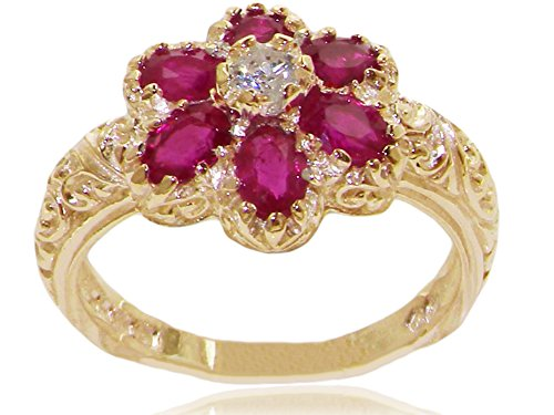 Diamond 14k Gold Estate Ring (14k Yellow Gold Natural Ruby Womens Cluster Ring - Sizes 4 to 12 Available)