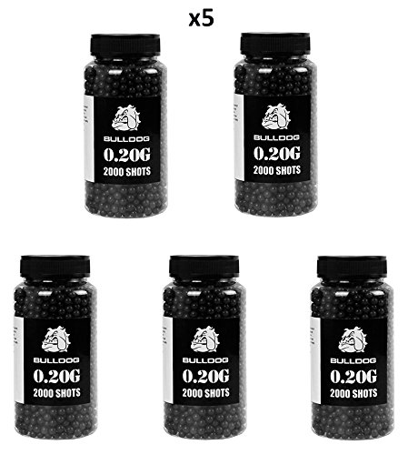 Bulldog 0.20g 2000 Set of 5 Airsoft BB Pellets Black by Bulldog