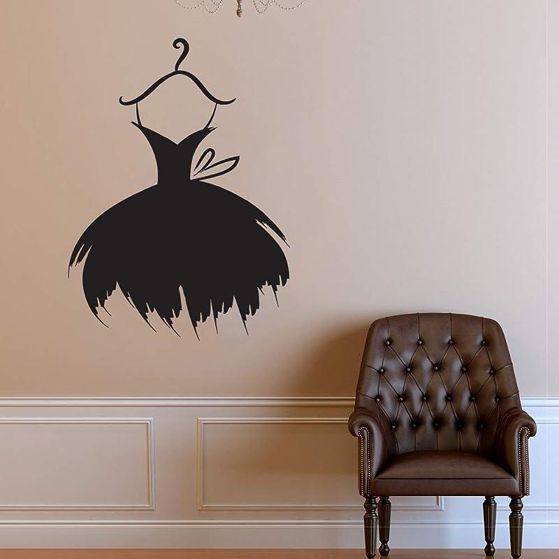 Wall Decal Window Sticker Beauty Salon Woman Face Fashion Style Clothing Boutique Dress Black Dress Model Hat  2959