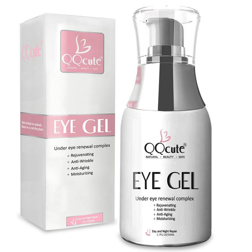 Eye Gel Cream, QQcute Day & Night Repair Eye Treatment Cream Anti Aging Complexes to Reduce Dark Circles, Puffiness, Under Eye Bags, Wrinkles & Fine Lines, Eye Moisturizer for Men & Women - 1.7 fl oz.