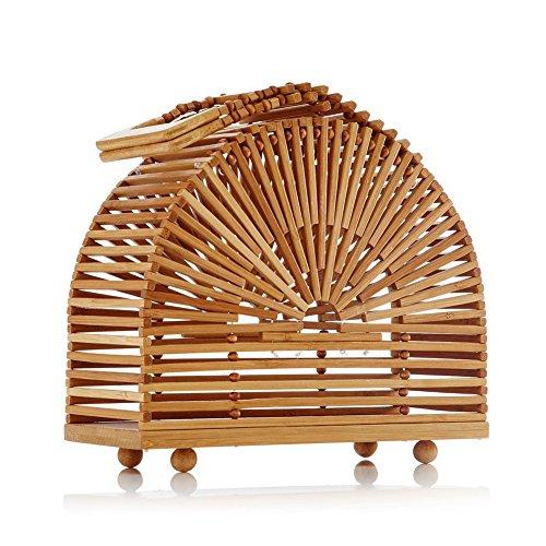 (Bamboo Handbag,SHZONS Handmade Weaving Tote Bamboo Purse Straw Beach Bag Half Moon Bag Circular Travel Sling Bag Crossbody Bag for Women )