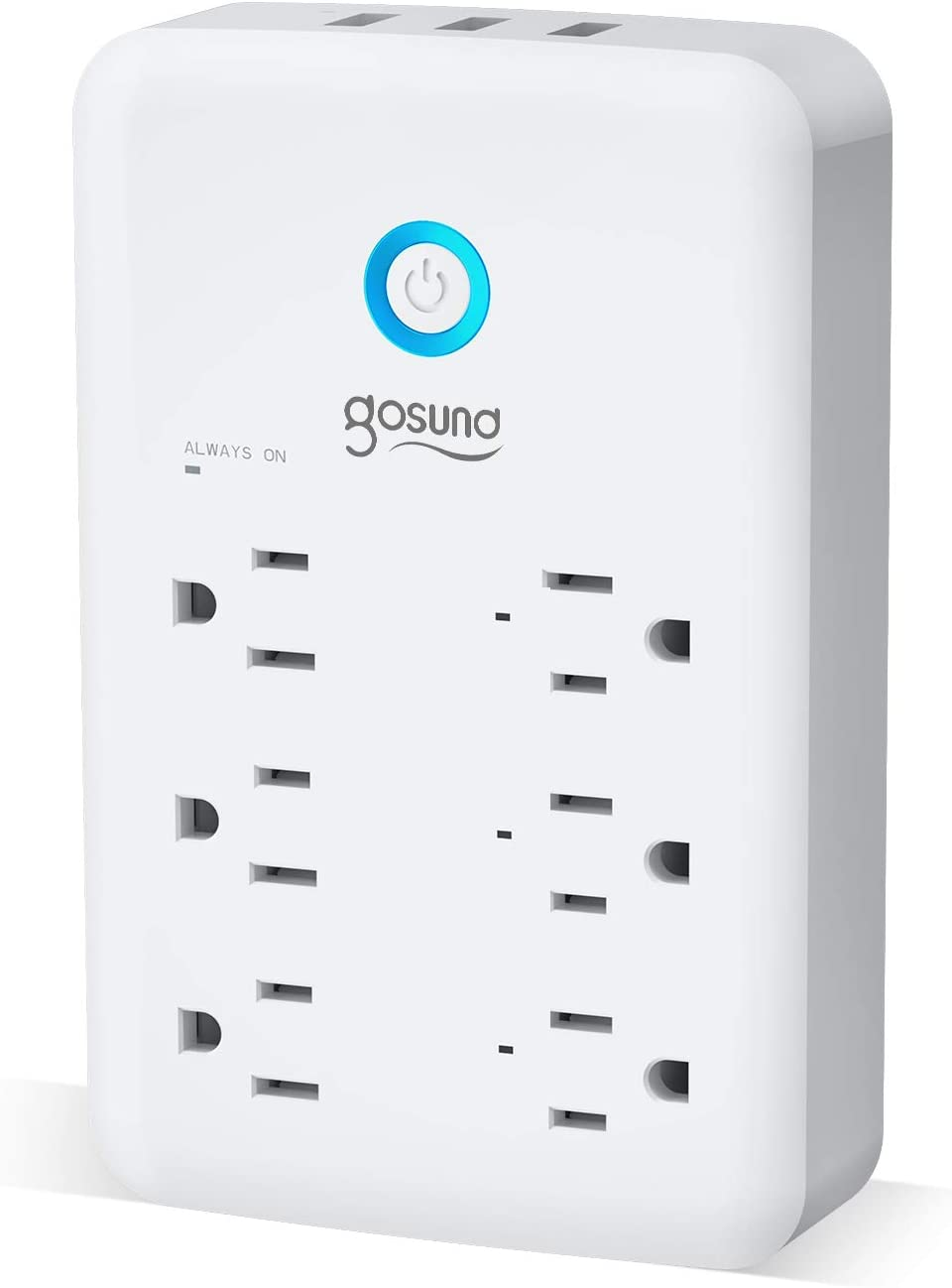 Smart Plug Outlet Extender, Gosund Surge Protector Power Strip Work with Alexa, Google Home, Wall Multi WiFi Outlet with 3 USB Ports, 6 Outlet Wall Adapter Plug Extender for APP Control,15A/1800W