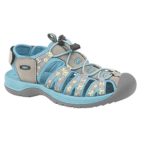PDQ Womens/Ladies Superlight Floral Print Sports Sandals Grey/Teal MXDlv