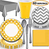 Disposable Tableware, 40 Sets - Sunflower Yellow and Silver - Dotted Dinner Plates, Chevron Dessert Plates, Cups, Lunch Napkins, Cutlery, and Tablecloths: Premium Quality Party Supplies Set