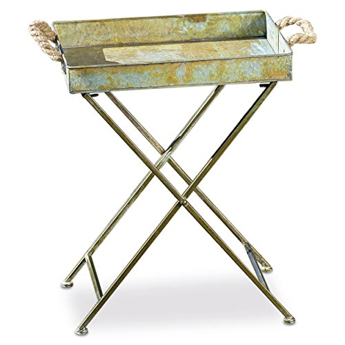 (Grand Tour Tray Table, Galvanized Zinc, Chunky Rope Handles, Criss-Cross Stand, 1/2 Inch, Button Feet, Rustic Distressed Finish, Rusty Green Patina, 15 3/4 L x 11 3/4 W x 20 H Inches, Folding)