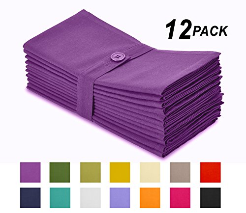 Cotton Craft Napkins, 12 Pack Oversized Dinner Napkins 20x20 Grape, 100% Cotton, Tailored with Mitered corners