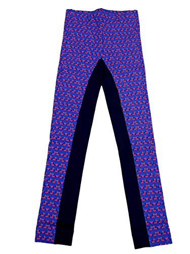 (Dublin Jessy Print Pull On Jodhpurs with Strap Blue/Pink Childs 10)
