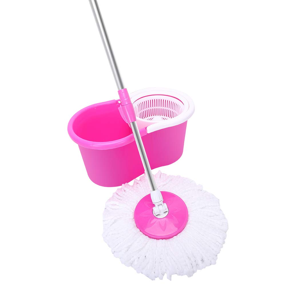 ASTIN 360° Spin Mop with Bucket & Dual Mop Heads Pink