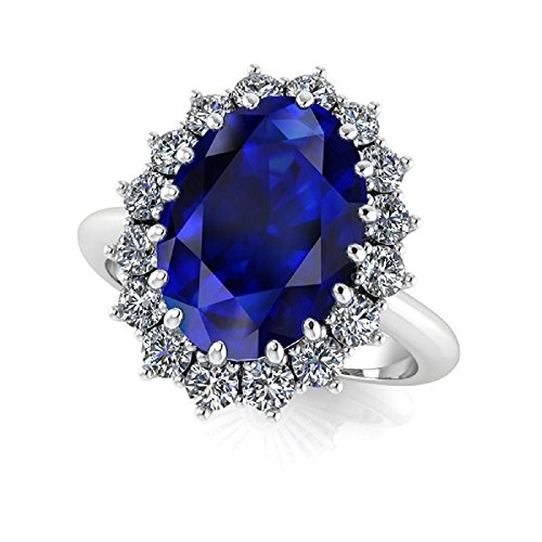Princess Diana Kate Middleton Statement Platinum Plated Cubic Zirconia Ring in 2 Colors, Gift for Her (Blue, 6)