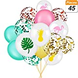 SATINIOR Set of 45 Hawaii Party Balloon Flamingo Tropical Leaf Pineapple Balloons Colorful Balloon with Round Confetti for Hawaii Luau Party Decorations