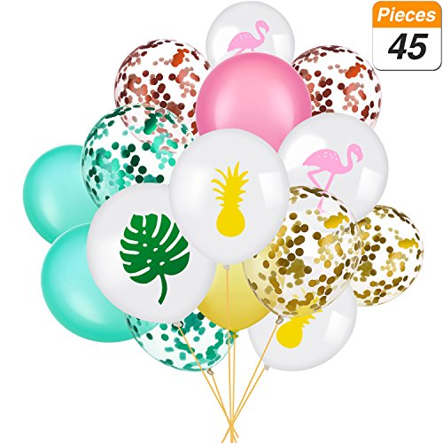 SATINIOR Set of 45 Hawaii Party Balloon Flamingo Tropical Leaf Pineapple Balloons Colorful Balloon with Round Confetti for Hawaii Luau Party Decorations -