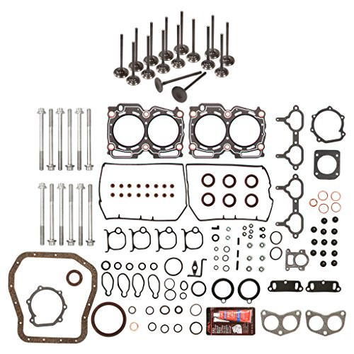 Evergreen FSHBIEV9008 Full Gasket Set Head Bolts Intake Exhaust Valves Fit Subaru Forester Impreza Legacy 2.5 DOHC