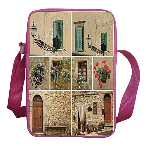 Tuscan Decor Stylish Kids Crossbody Bag,Various Pictures of Italian Lifestyle with Old Classic Shutter Window and Stone Houses Print for Girls,9