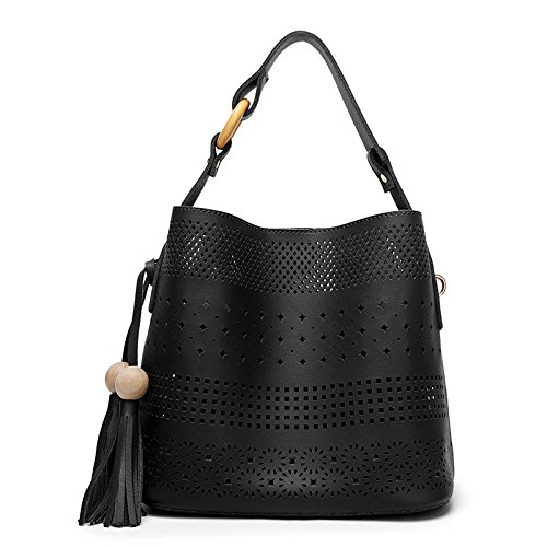 Mefly Satchel Bag Todos-Match Moda Mujer Nueva Imagen Fringe Albaricoque black