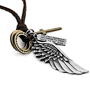 Inblue Men's Alloy Vintage Silver Gold Brown Cross Angel Wing Pendant Necklace with Gift Bag, 16-26 Inch