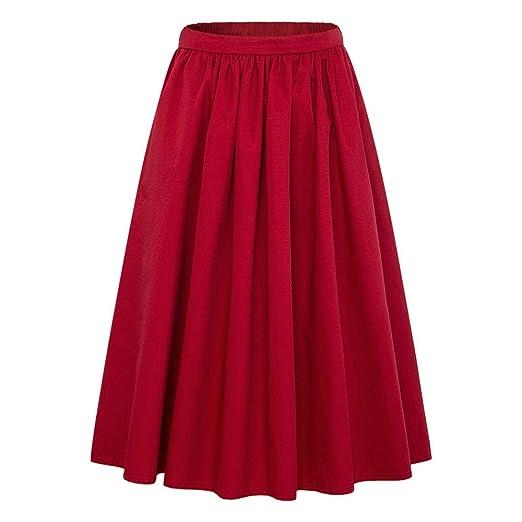 WUSHIYU Minifaldas de Cintura Alta para Mujer Falda Acampanada ...