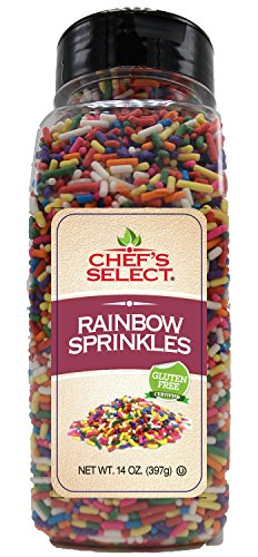 Chefs Select Decorative Rainbow Sprinkles Jimmies 14oz -Value Size