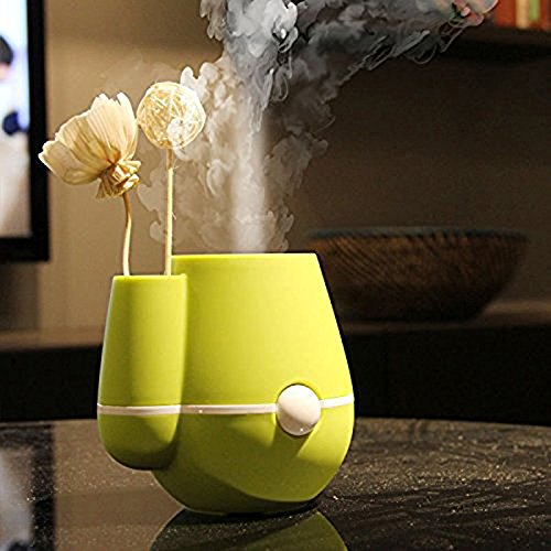 NuoYa001 Flower Vase Shape 220ml Air Mist Ultrasonic USB Humidifier Air Purifier Freshener Aroma Steam Diffuser for Bedrooms Living Rooms Car Home and Office (Green)