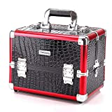 KERVINJESSIE Professional Aluminium Beauty Case Make Up Nail Cosmetic Box Vanity Organiser Crocodile Pattern (Color : Red, Size : M)