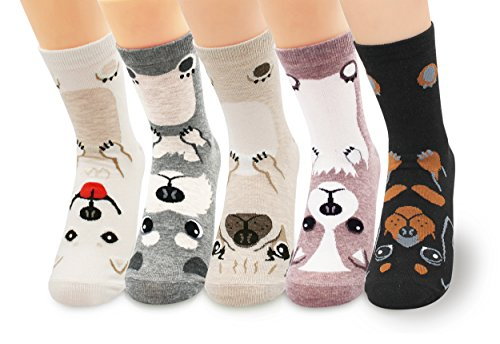 V28 Women's Cute Socks with Owls Pandas Dog Tigers Foxes Various Pattern Multipack (One Size, Cutie Pet Dogs)