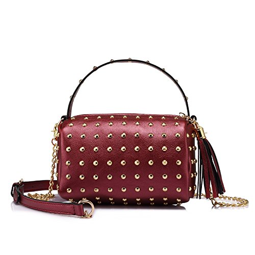 Shoulder Bag Small Side Purse Mini Clutch with Bling Rivets Wine Red
