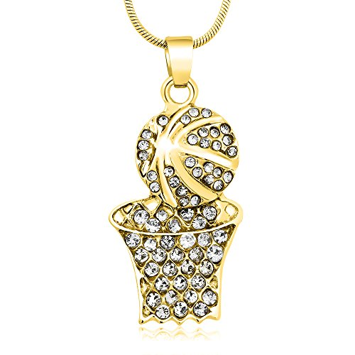 Gem Stone King Stunning Basketball and Hoop with White Crystals Plated Pendant and 16 Inch Snake Chain ()