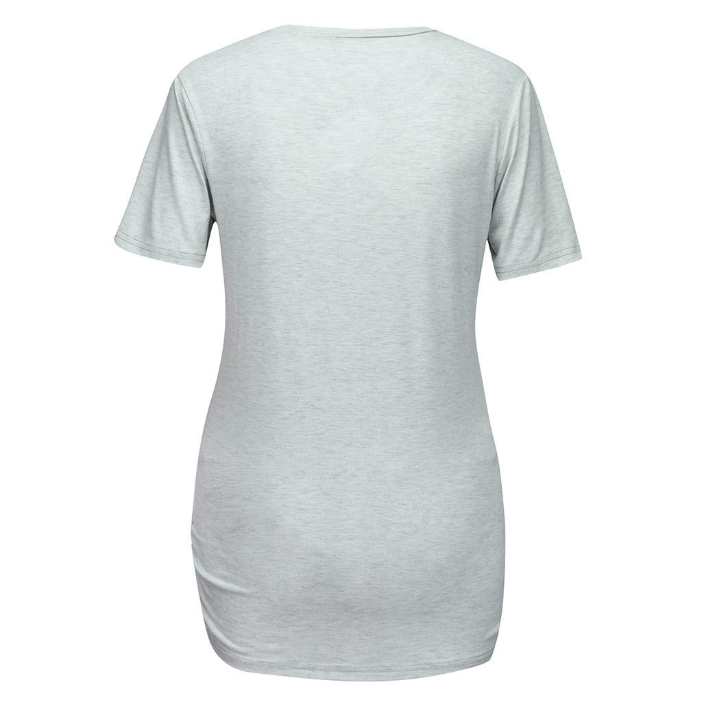 Daylin Womens T-Shirt Clothes Maternity Short Sleeves Letter Print Tops Pregnancy