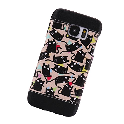 AENMIL Fashion Cute Samsung Galaxy S7 Case, Skinning Spell Color Painting PC Shell Galaxy Smartphone Cover G - Kitty