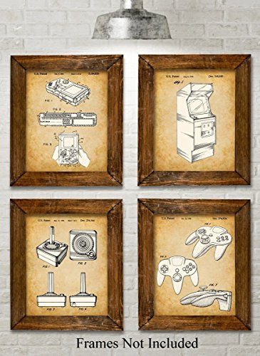 Patent Art Prints - Set of Four Photos (8x10) Unframed - Great for Game Room Decor (Little Star Canvas Artwork)