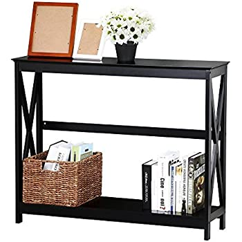 Yaheetech 2 Tier X Design Hallway Large Console Table Entryway Accent Tables  With Storage Shelf Living