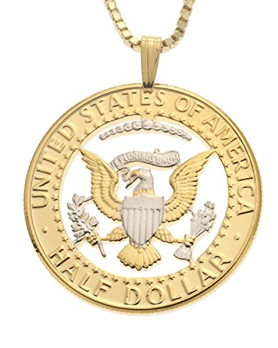 (American Eagle Pendant, Kennedy Half Dollar Hand Cut, 14k and Rhodium Plated)